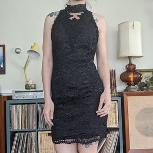 Sexy 90's Black Lace Cocktail Dress